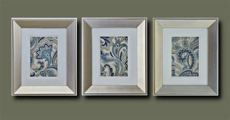 paisley pattern wall art framed fabric wall decor with blue paisley pattern
