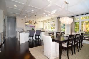open plan soft white cabinets contrasting dark floors contemporary dining room dc metro