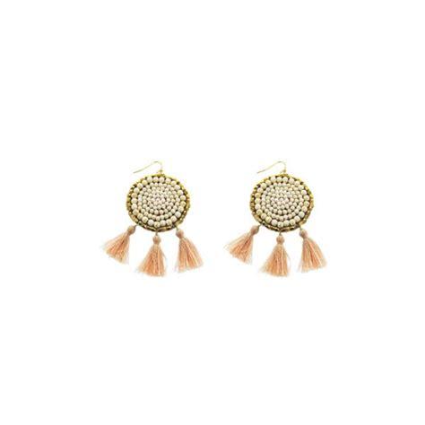 Circle Tassel Earrings white howlite beaded circle tassel earrings panacea jewelry