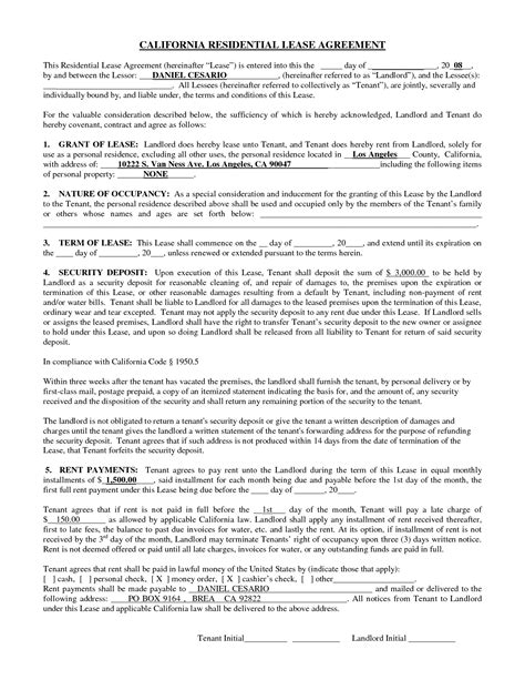 california lease agreement template best photos of free residential lease agreement
