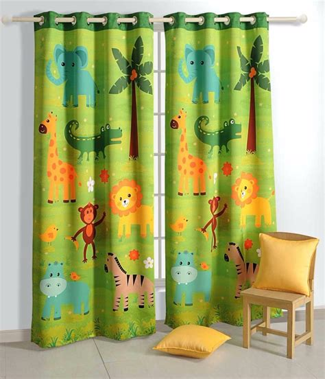 safari curtains baby printed jungle friends kids baby blockout eyelet green 1