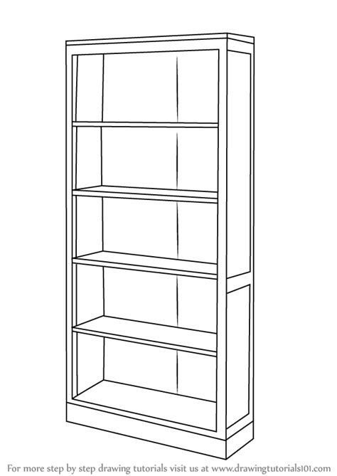 bookshelf sketch learn how to draw a book shelf furniture step by step
