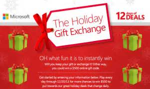 Microsoft Sweepstakes - microsoft quot the holiday gift exchange quot instant win sweepstakes win a 500 microsoft