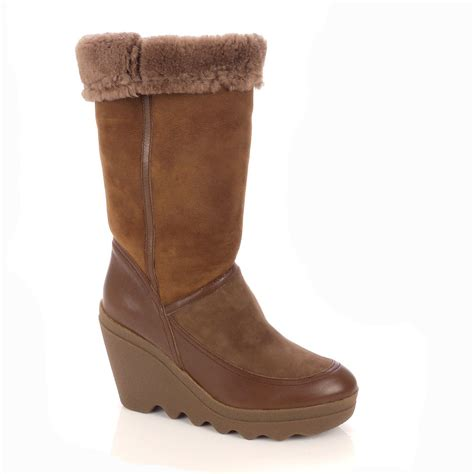 varushka brown suede shearling lined boot