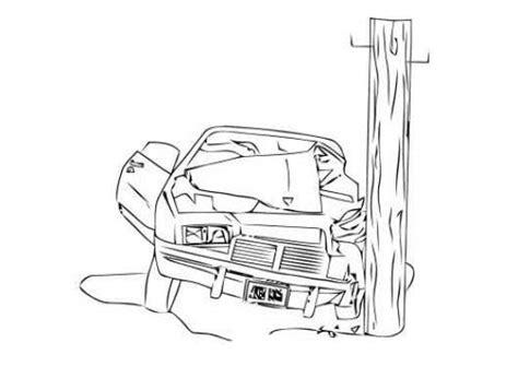 coloring pages crashed cars desenho de carro batido no poste para colorir tudodesenhos