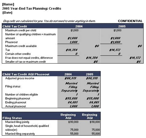 tax template excel year end tax planning calculator template microsoft word