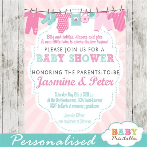 Blue And Pink Baby Shower Invitations by Pink Blue Clothesline Baby Shower Invitation