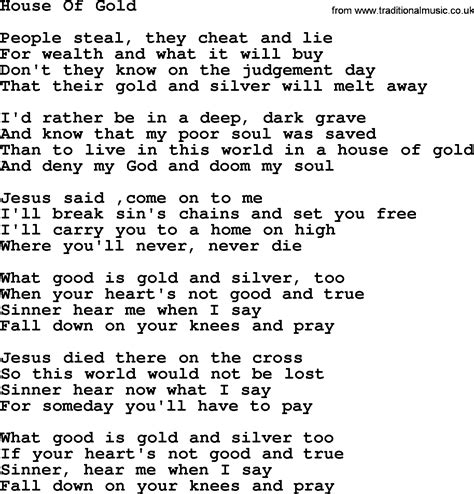 Willie Nelson Song House Of Gold Lyrics