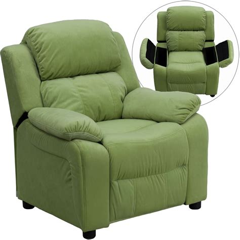 recliner with arm storage deluxe heavily padded avocado microfiber kids storage arm