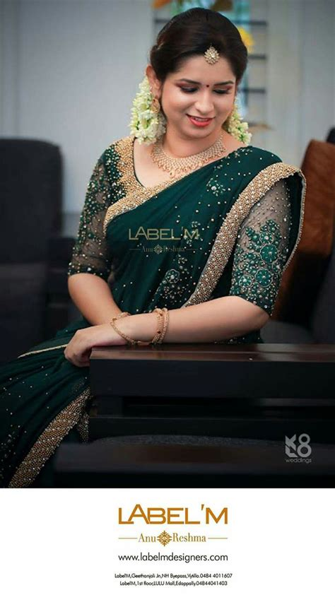 love emerald colored sarees kerala saree blouse