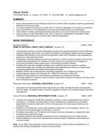 Resume Sles For Business Analyst by Business Analyst Resume Summary Ilivearticles Info