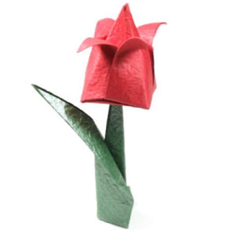 Tulip Flower Origami - how to make a traditional origami tulip page 1