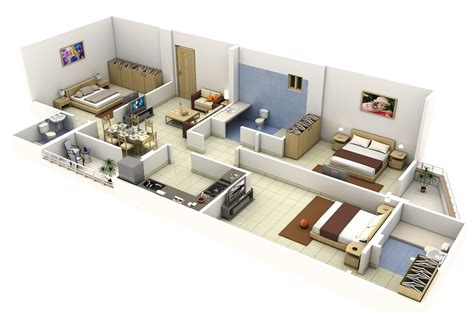 long narrow apartment floor plans insight of 3 bedroom 3d floor plans in your house or