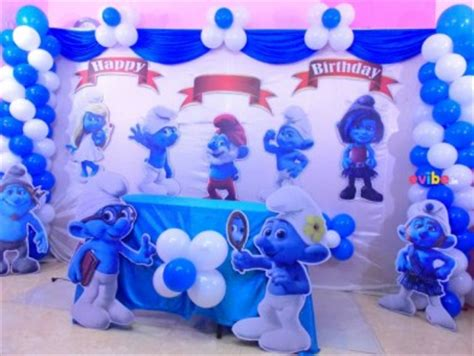 smurfs theme decorations best birthday theme decorations boy themes