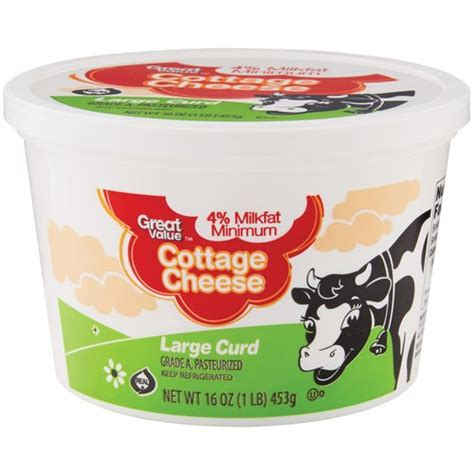 Cottage Cheese Large Curd by Great Value Large Curd Cottage Cheese 16 Oz Walmart