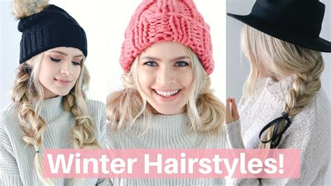 easy hairstyles  winter hats  scarves hair