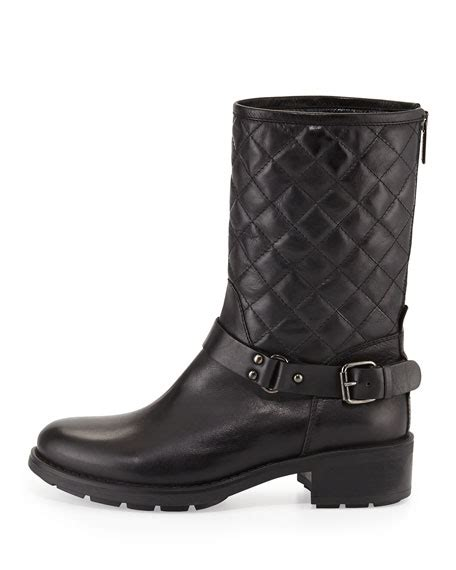 Quilted Moto Boot by Aquatalia Quilted Leather Moto Boot Black