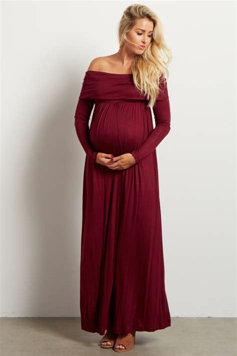Maxi Shiren Set Maroon 3in1 burgundy cowl neck sleeve maternity maxi dress