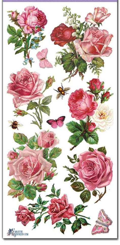 Decoupage Decals - stickers pink roses decoupage collage mixed media