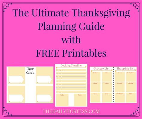 printable planning guide thanksgiving planning guide printable 100 images easy