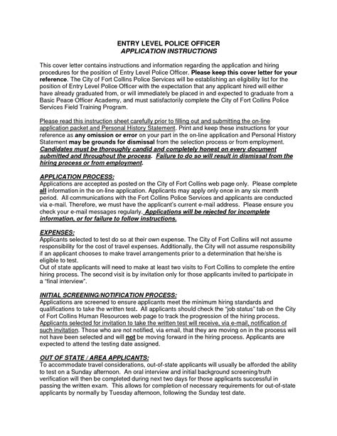 entry level police officer cover letter sle