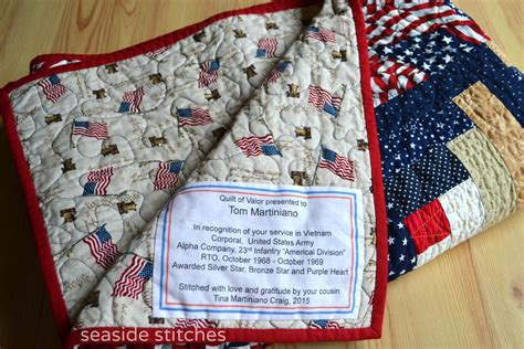 Quilt Of Valor Label by Seaside Stitches Quilt Of Valor For Tom