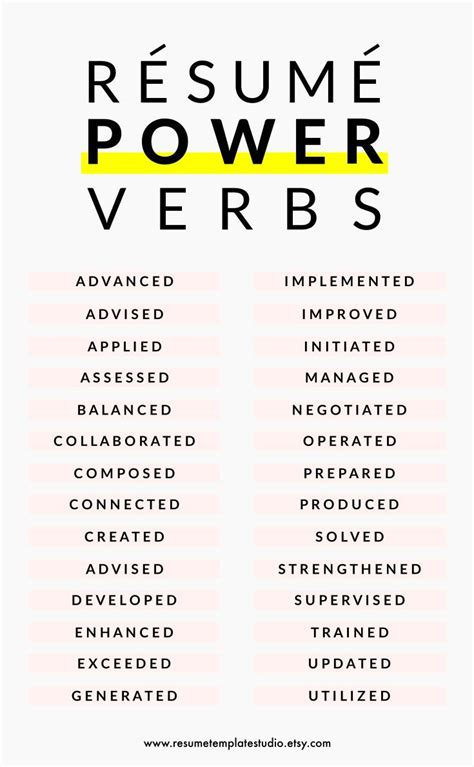 verbs for resume writing career infographic resume power verbs and resume tips to