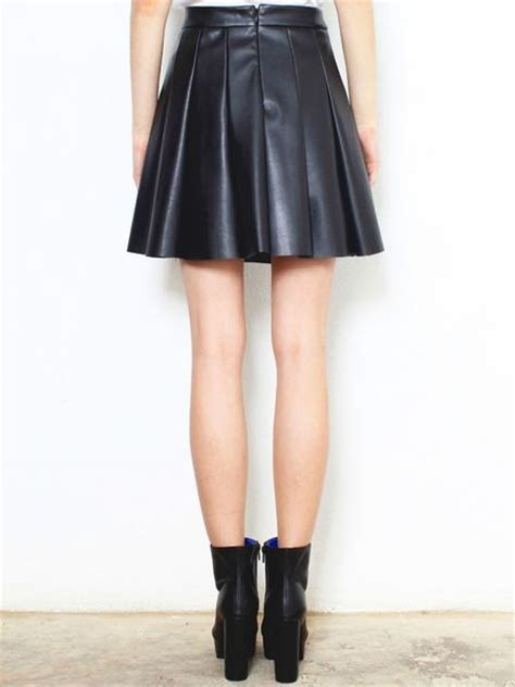 glassworks faux leather pleated skirt in black lyst