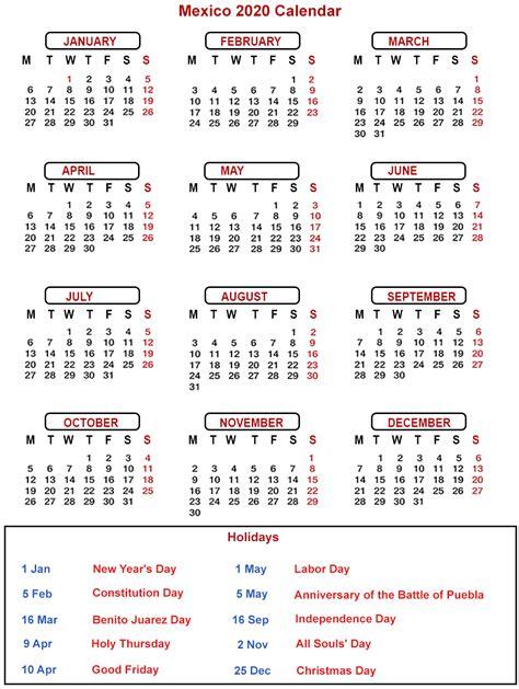 mexico printable calendar  public holidays