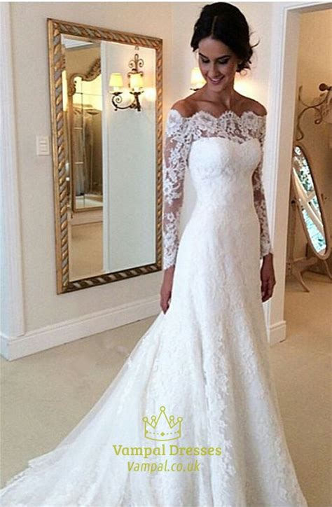 White Lace Off The Shoulder Sheer Long Sleeve Wedding