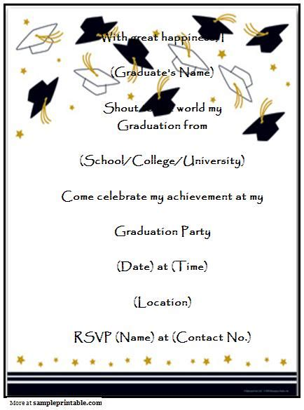 graduation invitation card template word graduation invitation templates free printable