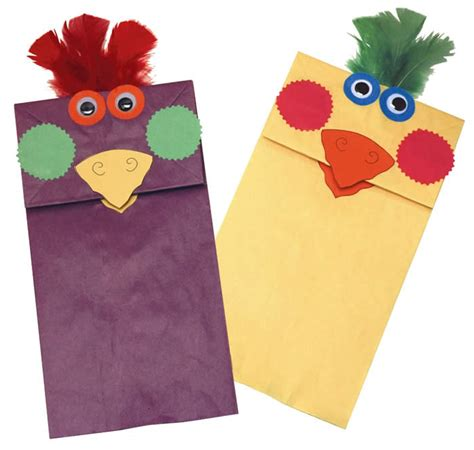Paper Puppet Crafts - rainbow paper bag bird puppets family crafts