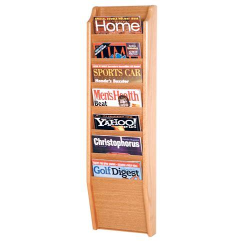 Magasine Rack by Wooden Magazine Rack 7 Pocket In Wall Magazine Racks