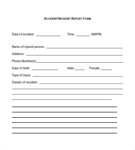 image result  basic incident report form incident