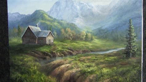 oil painting mountain cabin landscape youtube
