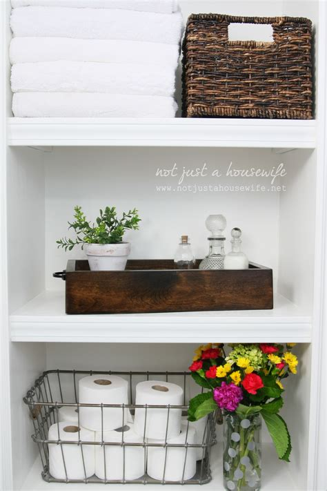 bathroom shelf decorating ideas bathroom shelves not just a housewife