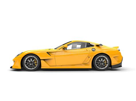 sports car side view bright yellow modern fast sports car side view stock