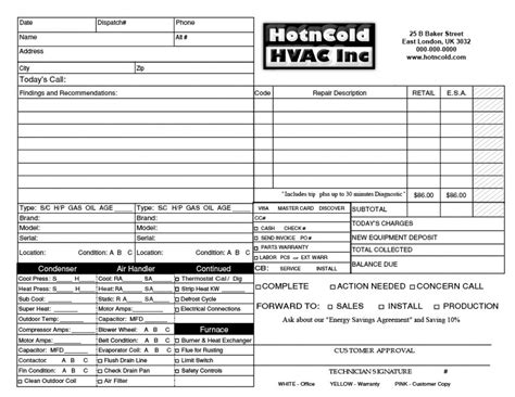 hvac receipt template heating air invoice form sles wilson printing