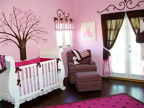 Full Pink Color Girl Baby Room Ideas Decorate Baby Bedroom Themes