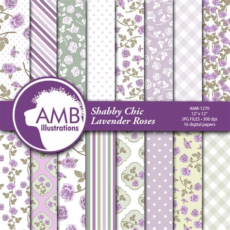 shabby chic purple shabby chic wedding papers floral papers purple digital