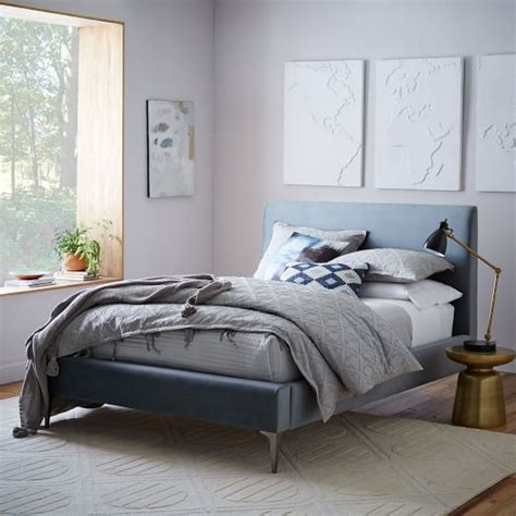 west elm bedroom sale andes deco upholstered bed steel blue luster velvet