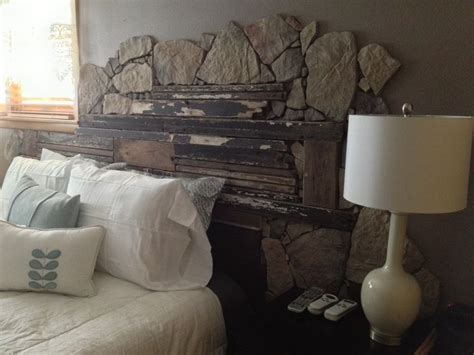 stone headboard headboard made from barn wood and field stone diy