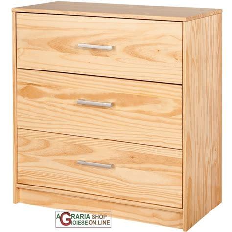 mobili in pino massello cassettiera con 3 cassetti in pino massello colore legno