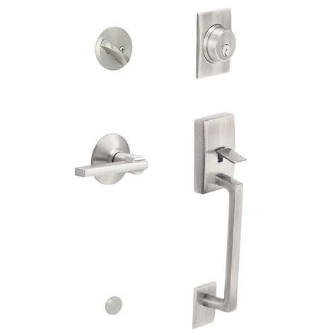 Schlage Exterior Door Locks Shop Schlage F60 Century Traditional Satin Nickel Single Lock Keyed Entry Door Handleset At