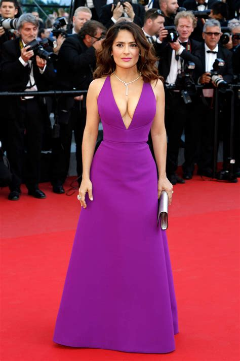 Salma Hayek When Bad Shoes Happen To Dresses by Salma Hayek Purple Floor Length A Line V Neck Dress