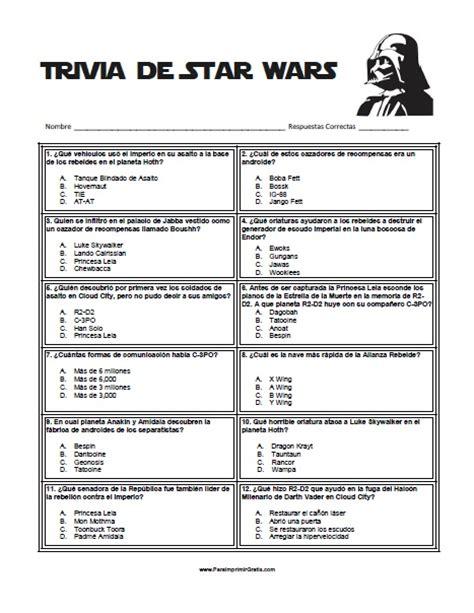 preguntas trivia en espanol juego trivia de star wars para imprimir gratis