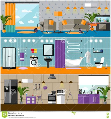bedroom interior banners set in flat style vector vector set of house horizontal banners in flat style