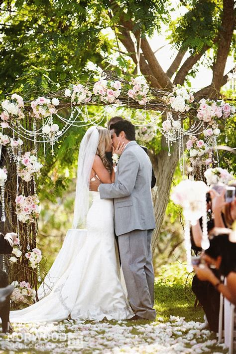 backyard wedding ceremony outdoor wedding ceremony arbor onewed