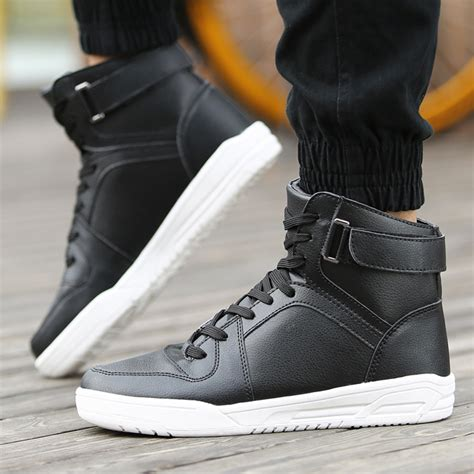 Class Black Casual High Size 39 44 new 2016 high top casual shoes pu leather fashion black white hip hop shoes solid flat