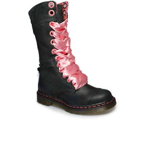 Boots Pink Black dr martens triumph 1914 black pink leather mid calf boots